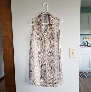 HAUTE HIPPIE Silk Snakeskin Patterned Shirt Dress